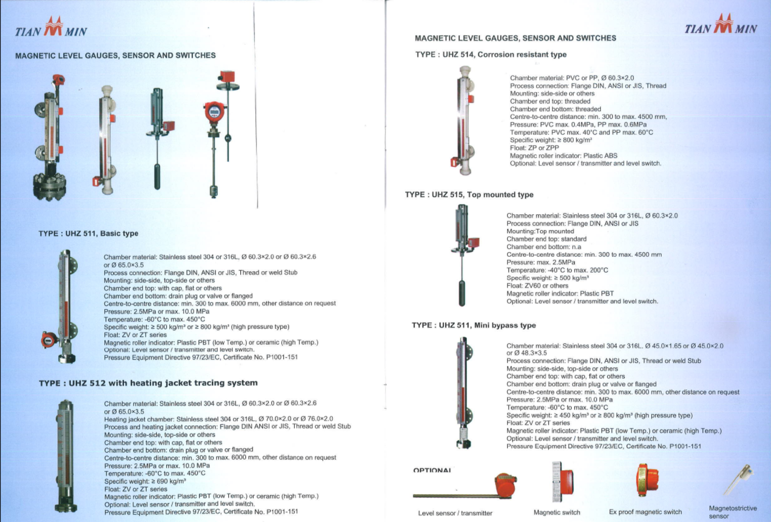 tianmin-magnetic-level-gauges